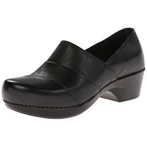 DANSKO Tenley Black Leather Clogs
